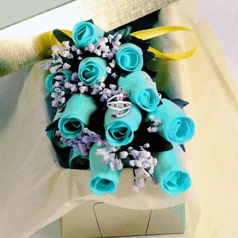 Baby Blue Wax Dipped Roses with Surprise Jewelry