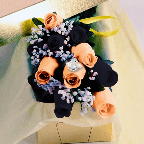 Black and Peach Wax Dipped Roses with Surprise Jewelry