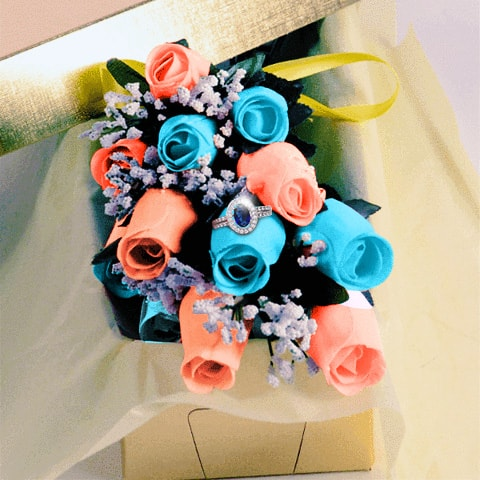 Blue and Coral Wax Dipped Roses with Surprise Jewelry
