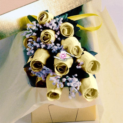 Cream Wax Dipped Roses w/ Surprise Jewelry