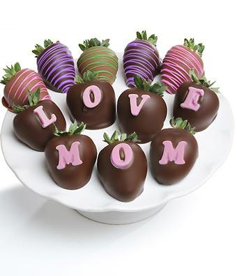Love Mom Chocolate Covered Strawberries - Fine Gifts La Bella Basket Company