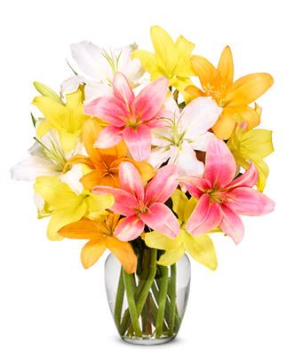 Bursting Lilie Flower Bouquet Arrangement - Fine Gifts La Bella Basket Company