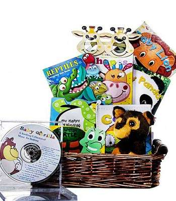 Baby Jungle Books Basket - Fine Gifts La Bella Basket Company