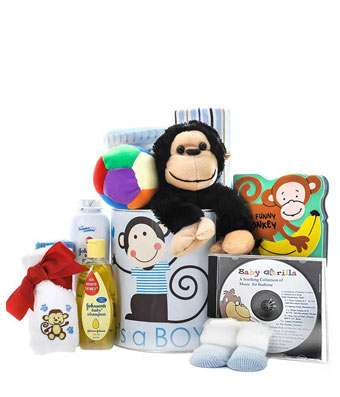 Cute Baby Boy Monkey - Fine Gifts La Bella Basket Company