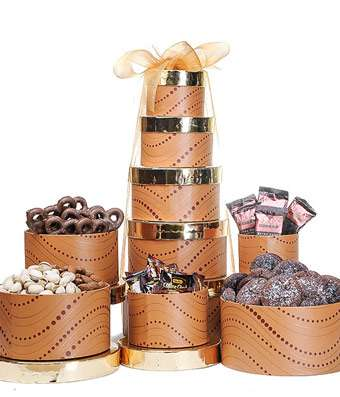 Golden Waves Snack Tower - Fine Gifts La Bella Basket Company