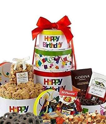 Happy Birthday Tower - Fine Gifts La Bella Basket Company