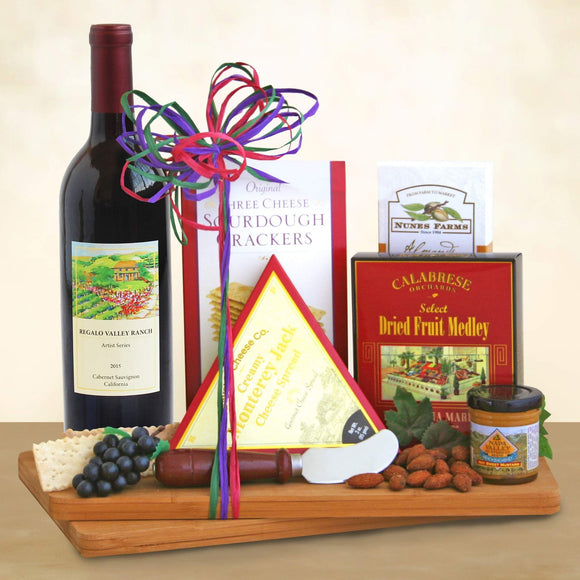 California Wine Cutting Board Gift Set - Fine Gifts La Bella Basket Company