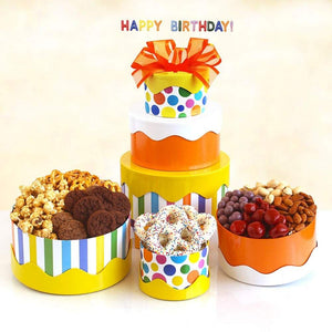 Birthday Cake Gift Box Tower - Fine Gifts La Bella Basket Company