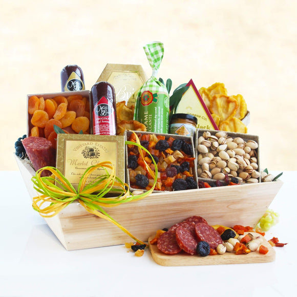 Deluxe Meat and Cheese Gift Basket - Fine Gifts La Bella Basket Company