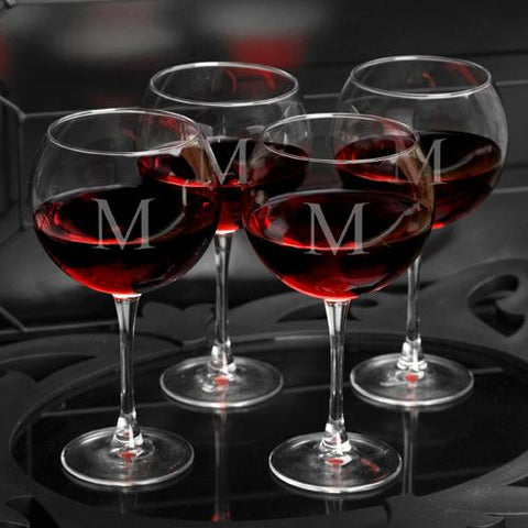 Red Wine Glasses With Classic-Styled Initial - Set Of 4