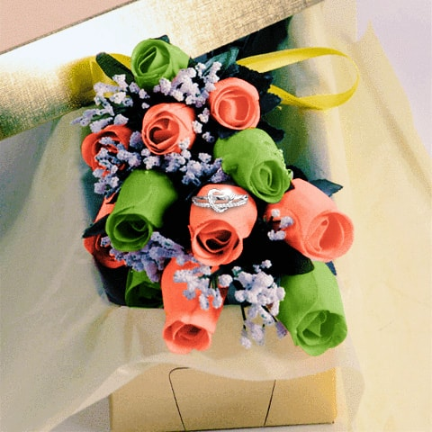 Green and Coral Dipped Roses with Surprise Jewelry