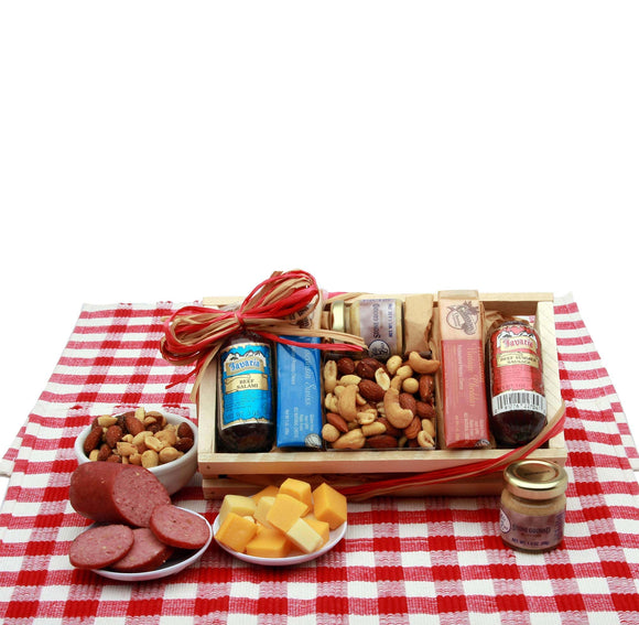 Signature Sampler Meat and Cheese Snack Set - Fine Gifts La Bella Basket Company