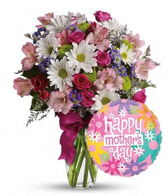 Mom Day Flower And Balloon Bouquet - Fine Gifts La Bella Basket Company
