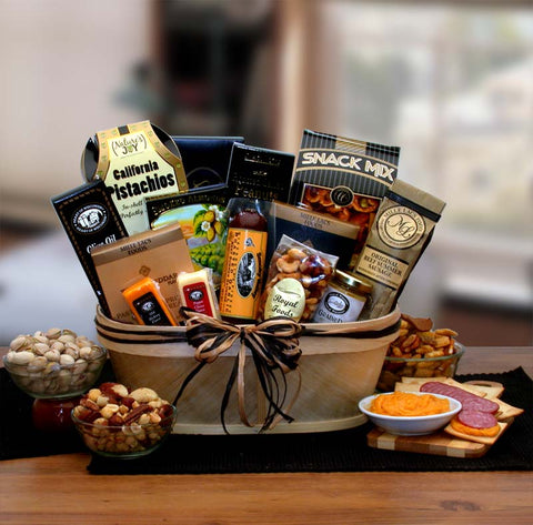 Gourmet Nut and Sausage Board - Fine Gifts La Bella Basket Company