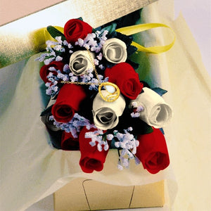 Red and Cream Wax Dipped Roses with Jewelry
