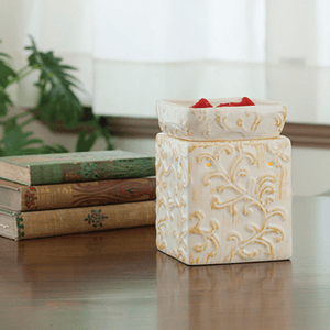 Square Embossed Tuscan Cream Candle Warmer - Fine Gifts La Bella Basket Company