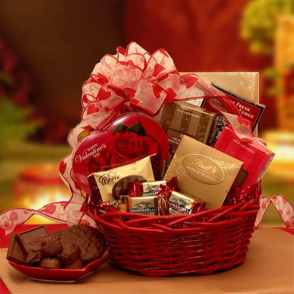 Chocolate Inspirations Valentine Gift Basket - Fine Gifts La Bella Basket Company