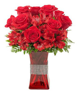 Bejeweled Bouquet of Red Flowers - Fine Gifts La Bella Basket Company