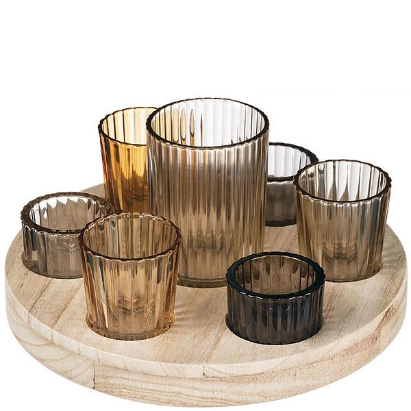 8 Piece Round Wooden Votive Tray Set - Fine Gifts La Bella Basket Company