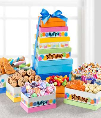 Birthday Party Tower - Fine Gifts La Bella Basket Company