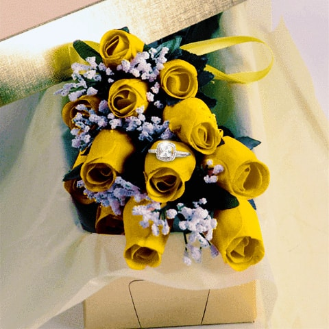 Yellow Wax Dipped Roses with Surprise Jewelry