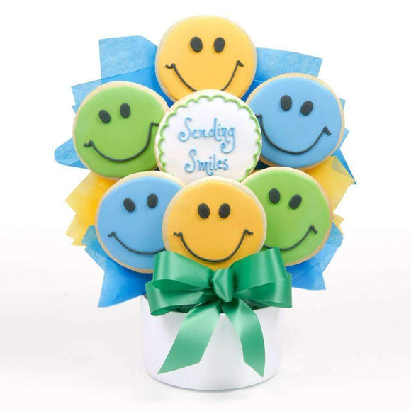 Sending Smiles Cookie Bouquet - Fine Gifts La Bella Basket Company