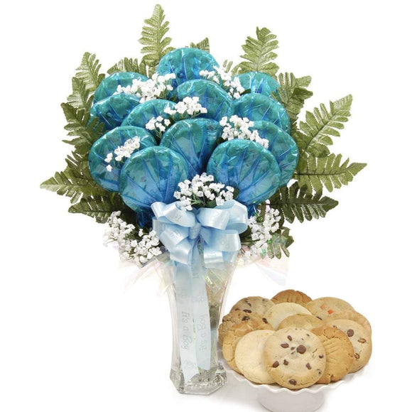 Luscious Longstems for Baby Boy Cookie Bouquet - Fine Gifts La Bella Basket Company