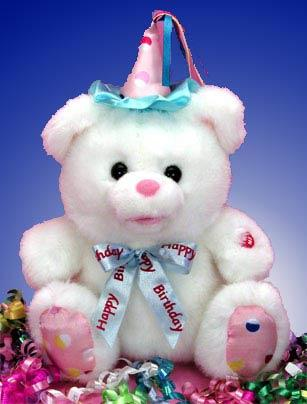 The Singing Birthday Bear is a 12 inch bear that sings the birthday song