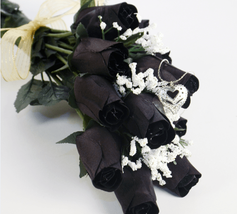 Black Wax Dipped Roses with Surprise Jewelry