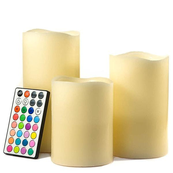 Flameless LED 3 Piece Color Change Candle Set