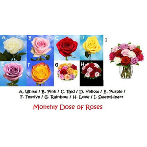 Monthly Dose of Roses - Fine Gifts La Bella Basket Company