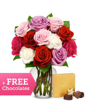 Red, Pink or Multi Color Roses w/ Free Box of Godiva Chocolates