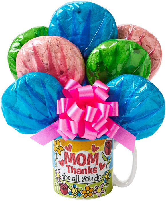 Thank Your Mom Mug Cookie Bouquet - Fine Gifts La Bella Basket Company