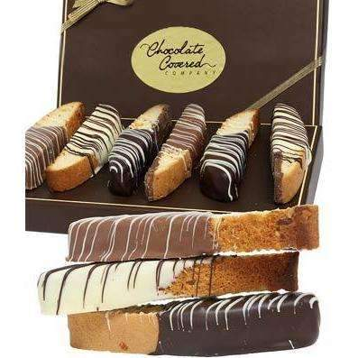 Belgian Chocolate Dipped Biscotti Assortment - Fine Gifts La Bella Basket Company