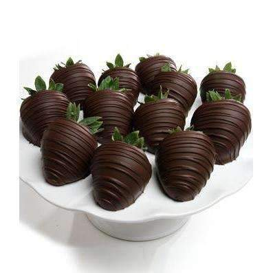 Belgian Dark Chocolate Covered Strawberries  - One Dozen - Fine Gifts La Bella Basket Company