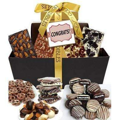 Congrats Chocolate Gift Tower - Fine Gifts La Bella Basket Company