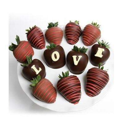 LOVE Chocolate Covered Strawberry - Fine Gifts La Bella Basket Company