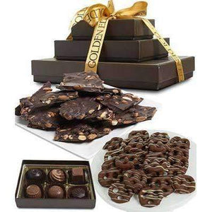 Sweet and Salty Dark Belgian Chocolate Gift Tower - Fine Gifts La Bella Basket Company