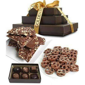 Sweet and Salty Milk Belgian Chocolate Gift Tower - Fine Gifts La Bella Basket Company