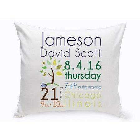 Baby personalized gifts baby boy announcement throw pillow negle Choice Image