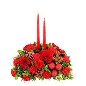 Merry Bright Floral Centerpiece - Fine Gifts La Bella Basket Company
