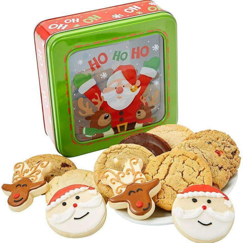 Santa Window Christmas Cookie Tin - Fine Gifts La Bella Basket Company