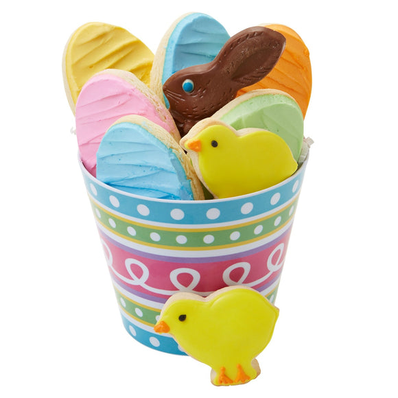 Easter Cookies and Bunny in Pail - Fine Gifts La Bella Basket Company