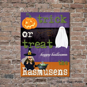 Halloween Trick or Treat Purple Canvas Sign - Fine Gifts La Bella Basket Company