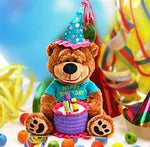 Brownie The Happy Birthday Bear  Brownie will brighten their day for sure! This adorable brown bear wears a festive birthday cap, holds a birthday cake and sings Happy Birthday to you.