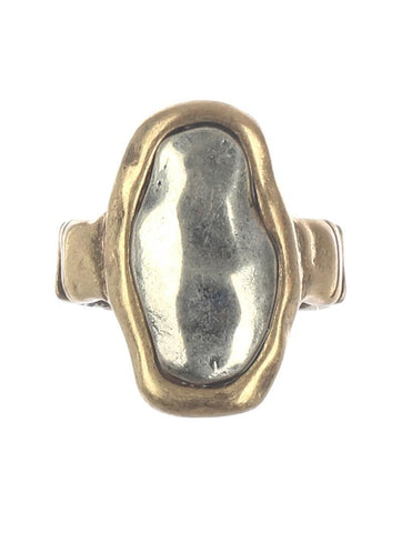 2 Tone Hammered Bold Ring - Silver Top with Gold Band