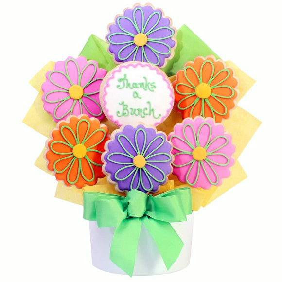 Thanks Flower 7 Cutout Cookie Bouquet - Fine Gifts La Bella Basket Company