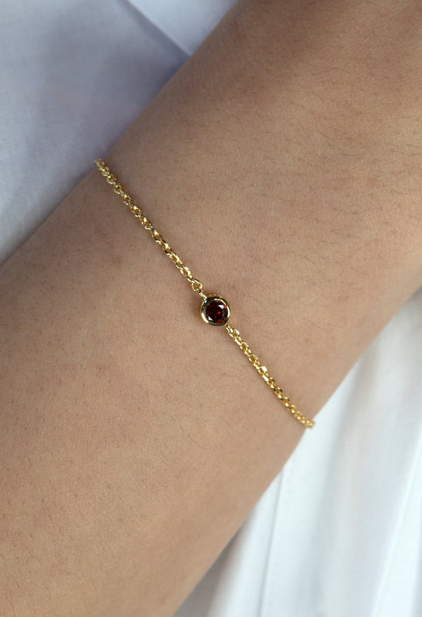 Lennox Gold Bracelet - Ruby Red - Kestan
