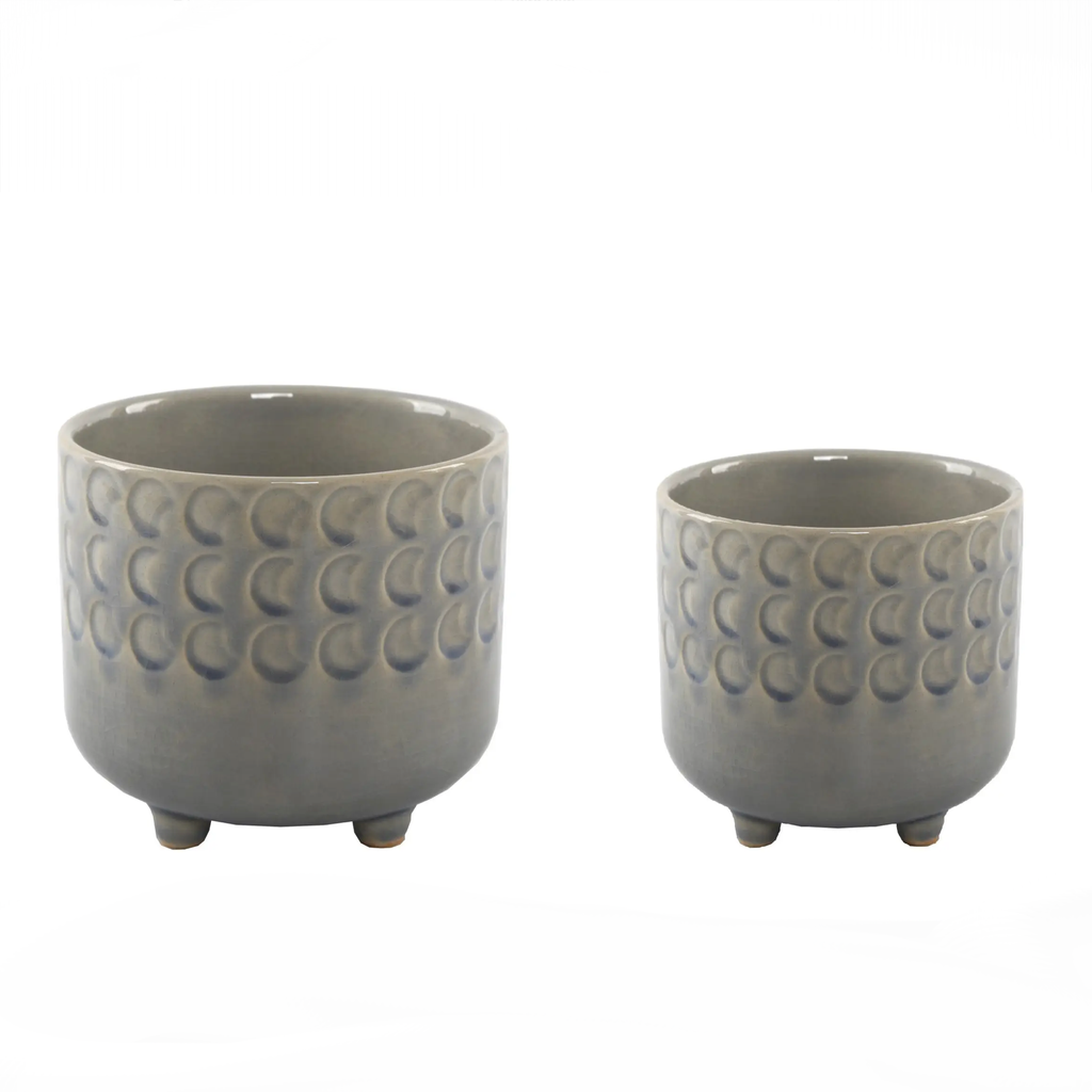 Moon Phase Footed Planter • Set Of 2 {Empty}