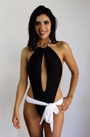 Contrast one piece swimsuit